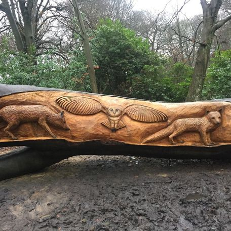 fly-by carved at Heaton park, uk.