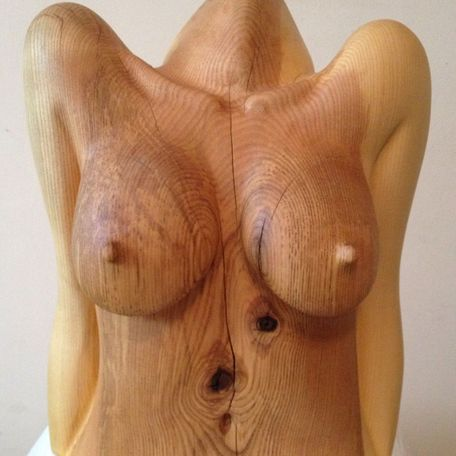 The Body, life size female torso carving