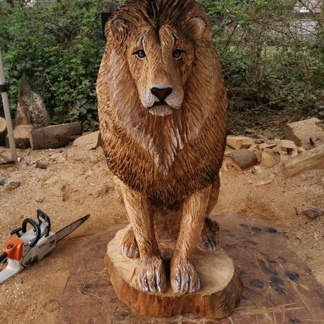 4Ft Male Lion, i carved