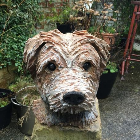 Dogs head carving.