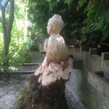Buddha now installed on stump