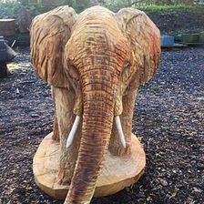 Elephant carved from oak