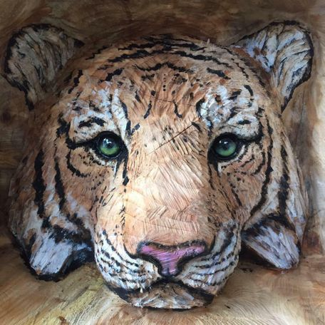 Tiger Head carving with painted high lights